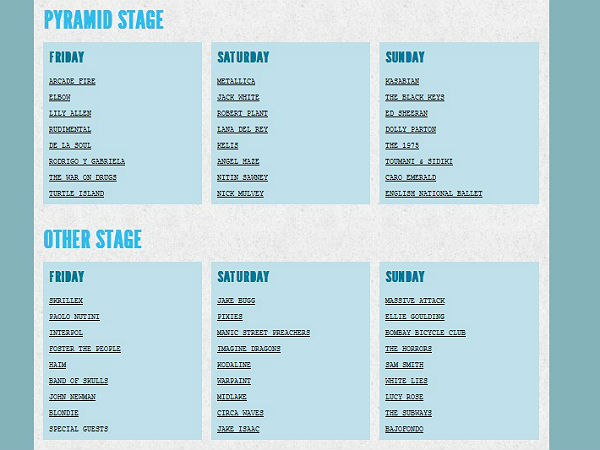 Check them all out here or see the stage split times for the Pyramid Stage Other Stage West Holts Park John Peel and Acoustic Tent below. Glastonbury ... & Glastonbury Festival reveal stage running orders for each day ...