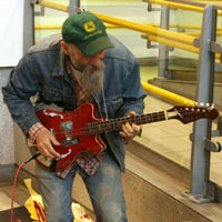 Seasick Steve Busks At Earls Court Tube Station Before Brit Awards