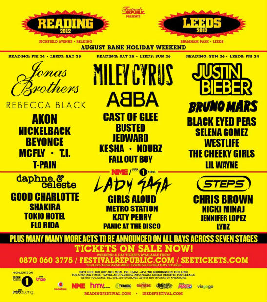 Reading and Leeds Festival 2012 Line-Up 'Revealed'