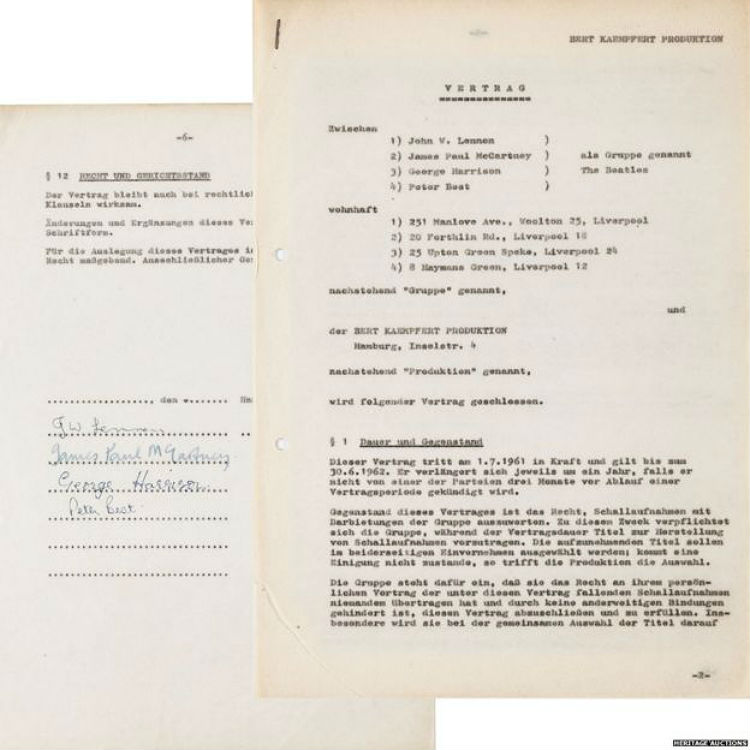 The Beatles record contract in Hamburg to be sold at auction