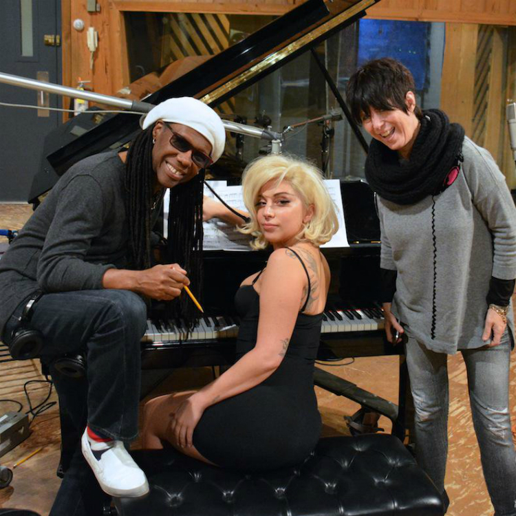 Lady Gaga and Nile Rodgers pictured together in the studio