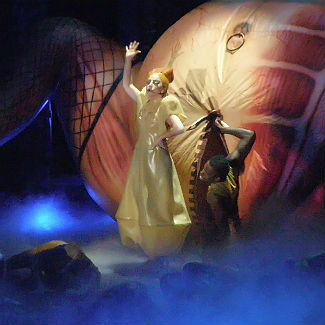 Lady Gaga performs with giant inflatable vagina