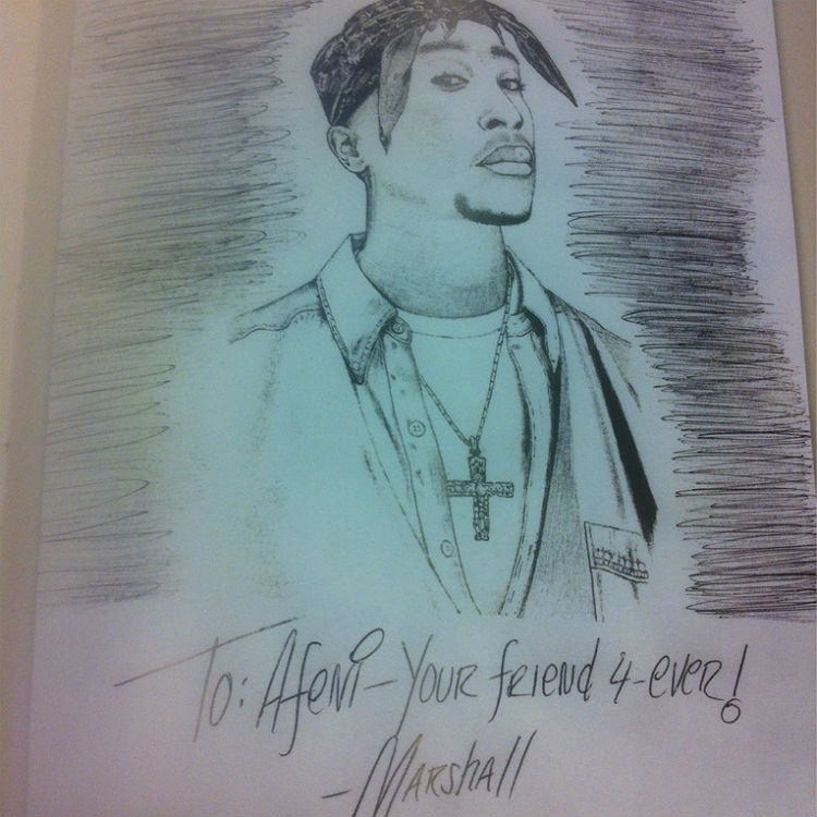 Eminem sent Tupac's mother Afeni Shakur a letter and drawing