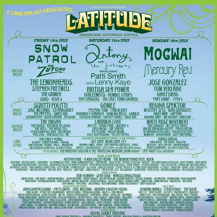 Latitude festival line-up posters, ten years from 2006 to 2015