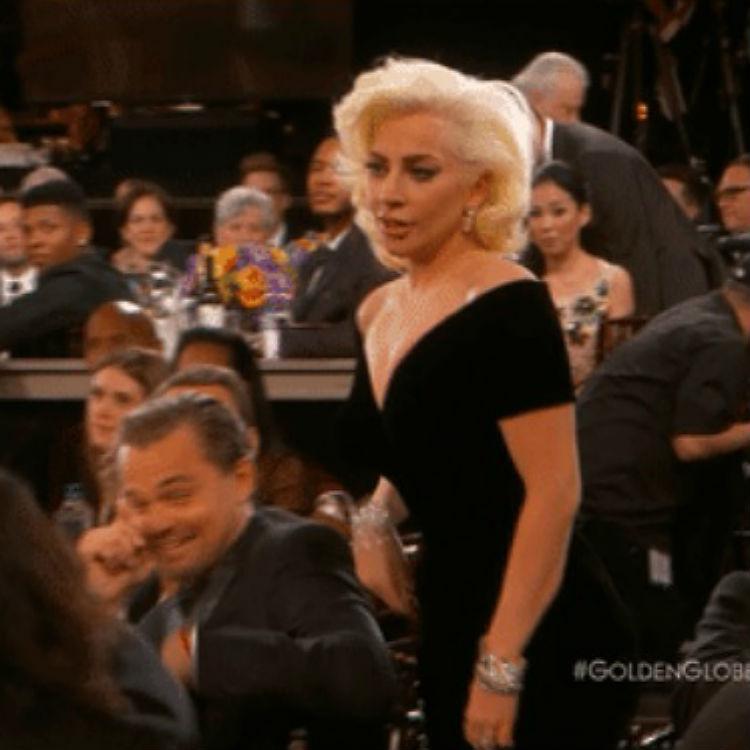 Leonardo DiCaprio Lady Gaga reaction gif Golden Globes explanation