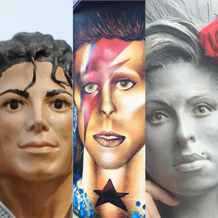 Bad musician statues, sculptures, murals - Michael Jackson, Bowie