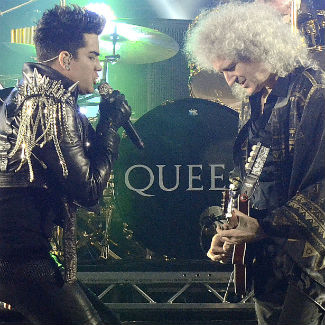 Adam Lambert splits leather trousers during 2nd Queen gig
