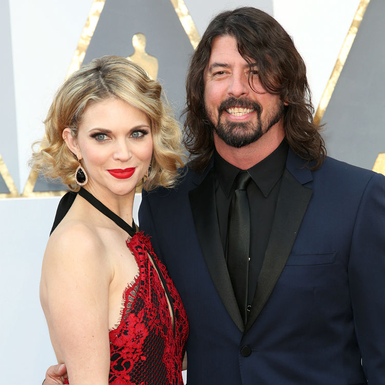 Dave Grohl wife at Oscars for David Bowie Alan Rickman Beatles cover