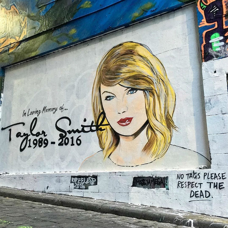 Taylor Swift career pronounced dead in graffiti after Kim Twitter row