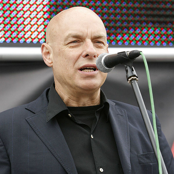 Brian Eno delivers speech in support of Labour candidate