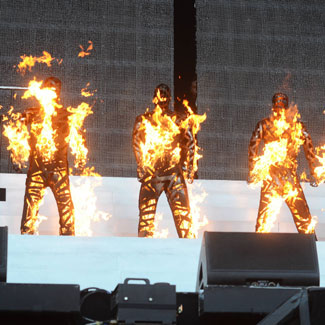 Westlife on fire at penultimate live show - literally