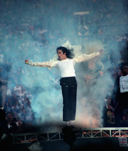 Performing at the 1993 SuperBowl final at the Rose Bowl in California