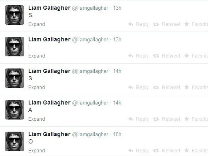 Liam Gallagher caused all sorts of fuss with just a few letters when his tweets of 'O', 'A', 'S', 'I' and 'S' on 24 April this month. It's amazing how little can send the music world into an absolute frenzy, but, unless this is just a joke on his behalf, there seems to be no other reason to tweet such incendiary letters. Could it be, could it really?