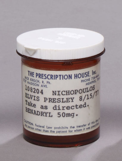 This Elvis Presley prescription bottle from 1977 – sadly the drugs weren't included – went under the hammer for $800 at a Las Vegas auction in May of this year. For your information, Benadryl is an antihistamine that's often taken by recreational drug users for its sedative effects.