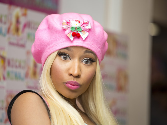 The hat was possibly the least crazy part of Nicki's outfit - not visible here, but she's wearing some kind of weird Barbie dress hybrid - but it's still pretty unfortunate. Bright pink and with some kind of Hello Kitty adornment, Minaj maybe just about manages to pull it off but without a doubt, anyone else would look ridiculous. Even more so, we mean.