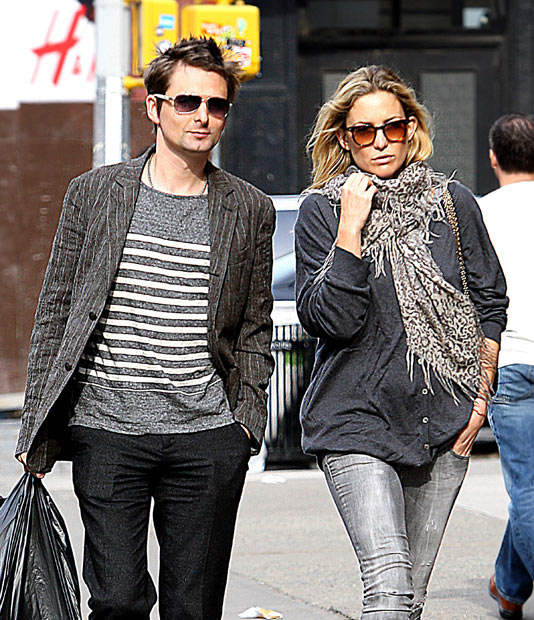 Matt Bellamy and Kate Hudson - Muse frontman Matt Bellamy began dating actress Kate Hudson in early 2010.  The pair recently announced that they are expecting their first child later this year and are now reportedly engaged.