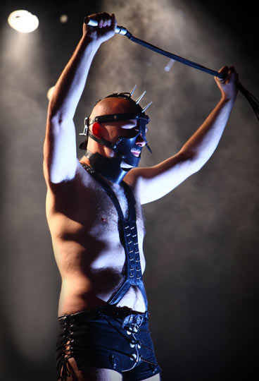 Dr Pest – This gimp plays keyboards for German thrash metal band Die Apokalyptischen Reiter (English 'The Apocalyptic Horsemen'). Scary huh? His real name is actually Mark Szakul.