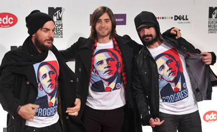 Shannon Leto, Jared Leto and Tomo Milisevic of 30 Seconds To Mars flash Obama t-shirts at the MTV Europe Music Awards in Liverpool