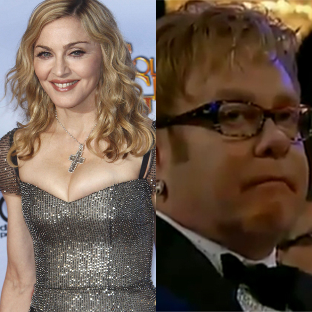 Elton John vs Madonna: The two queens of pop went to war at the 2012 Golden Globes awards.