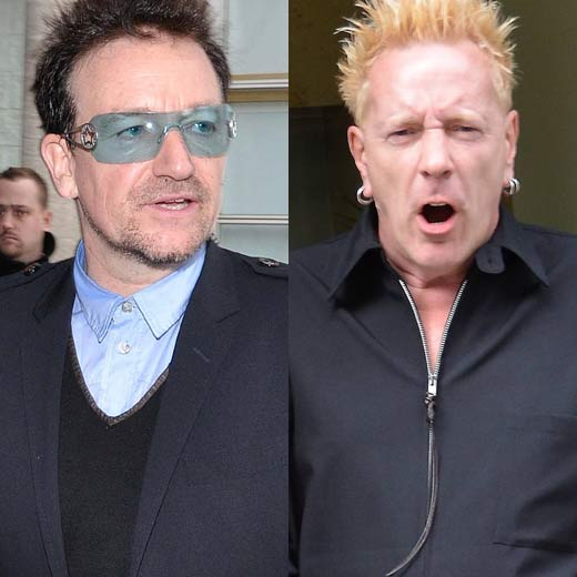 John Lydon vs Bono: Never one to shy away from expressing his opinions, punk-rocker and occasional butter-promoter John Lydon has taken issue with Bono's charity work recently saying: %u201CIf Bono really wants to save the world in that dreary way he puts it, Bono open your wallet! It%u2019s big enough now,%u201D in an interview with Sky Arts. It's over to you Bono...