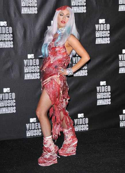Lady Gaga wears her raw meat outfit to the MTV Video Music Awards in 2010.