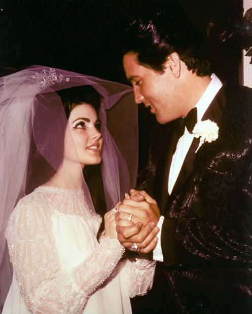Elvis Presley and Prisicilla Presley - In 1967 the King married Prisicilla at the Aladdin hotel in Las Vegas. The pair had their first daughter Lisa Marie but separated five years later.