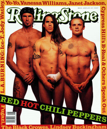 Red Hot Chili Peppers (Rolling Stone, June 1992) - The Chili Peppers joined the naked Rolling Stone cover club in the summer of 1992. Typically humorous, we love the expression on Anthony Kiedis&#39; face  