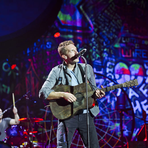 Coldplay kick off the UK leg of their European tour in Coventry on May 29.