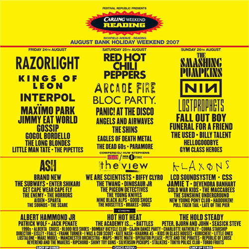 Reading Line Up 2007