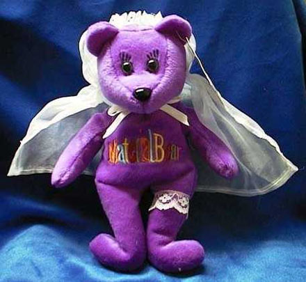 A Madonna Material Bear. The likeness of Madge in her infamous wedding dress is uncanny we're sure you all agree. Like all limited-edition beanie bears this is now worth a shit-ton of money.
