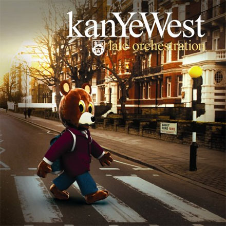 Kanye West's 2006 live album 'Late Orchestration' featured a cover directly parodying Abbey Road with The Beatles replaced by the rapper's mascot bear.