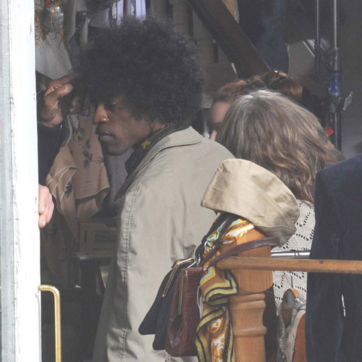 Andre 3000 as Jimi Hendrix on set of All Is By My Side.