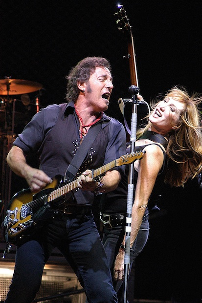 Bruce Springsteen and Patti Scialfa perform at the Giants Stadium East Rutherford, New Jersey in July 2003.
