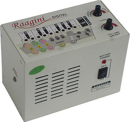 This little beauty, called the Raagini Digital, is a type of electronic tanpura which replicates the sounds of the Indian string instrument, the tanpura. Since first appearing in the 1970s, they have fittingly earned the nickname 'little white boxes'.