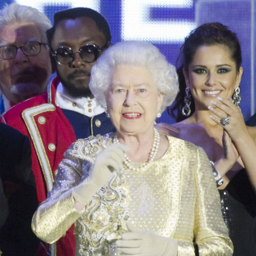 Rolf Harris, Will.i.am, The Queen and Cheryl Cole at Royal Jubilee Concert 2012.