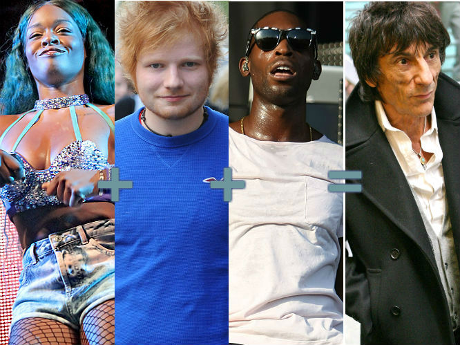 Azealia Banks (21)   Ed Sheeran (21)   Tinie Tempah (23) = Ronnie Wood (65)