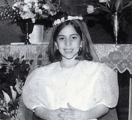 Way before Lady Gaga, Stefani Germanotta as a young girl taking first communion in second grade at age of seven