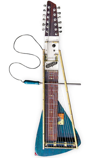 Of all of Dutch experimental luthier Yuri Landman's bizarre creations, this is our personal favourite. Dubbed the 'Moodswinger' it was created for Aaron Hemphill of Liars fame and despite its appearance isn't actually a guitar. Instead it's based on a 'zither' -  a kind of string instrument that originates from eastern Europe.