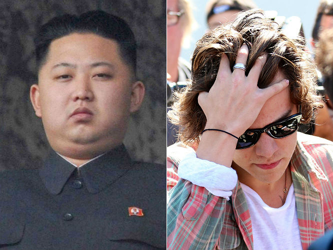 Kim Jong-Un refuses to allow One Direction into North Korea...unless they get a haircut: The tyrant made headlines last month when he declared that all men in North Korea were required to have his own mean-looking hairstyle by law. Today The Mirror claimed that extended to One Direction, with a government source saying: