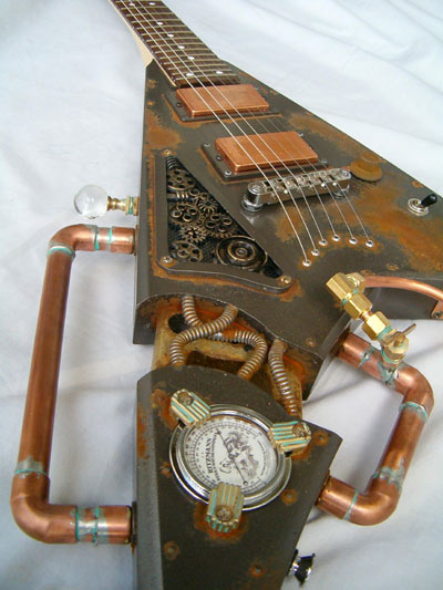 Not just an ordinary guitar, this behemoth, dubbed The Villainizer, uses pipes, gauges and gears to create a unique sound. The &#39;steampunk&#39; instrument was made by specialist guitar designers Thunder Eagle in 2007 and is a modified Rhodes Jackson V. 