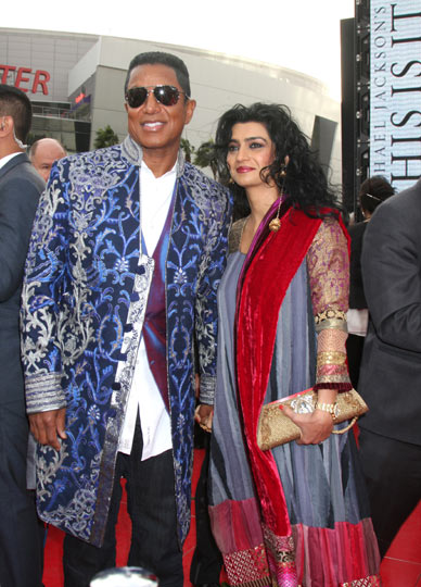 Jermaine Jackson and his wife Halima Rashid at the Nokia Theatre in Los Angeles