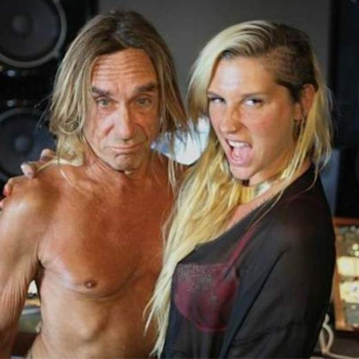 Iggy Pop: The never-clothed rocker has teamed up with US pop singer Ke$ha to record a new track for her album, after she previously snared studio time with Wayne Coyne of the Flaming Lips to work on their track, 'The Flaming Lips and Heady Fwends'. Speaking of the Iggy collaboration, Ke$ha tweeted: