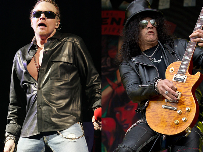 Guns N' Roses. Axl Rose and Slash's spat has been no secret, and seems to go on and on. The latest development is that Rose is suing games company Activision for $20 million after their use of an image of Slash on the cover of 'Guitar Hero', a game that featured the GnR song, 'Welcome to the Jungle'.