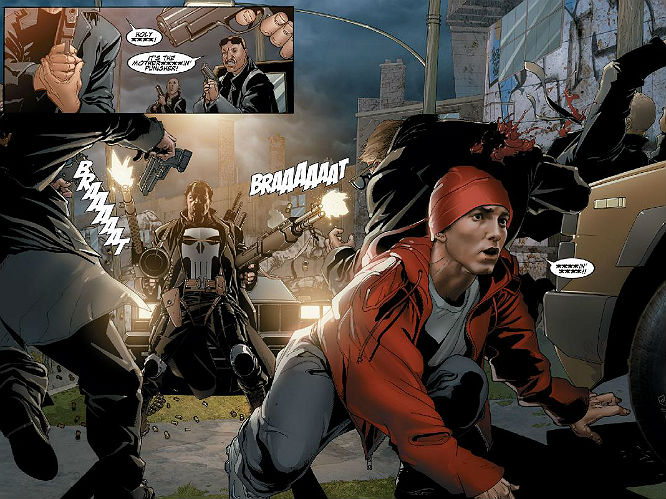 Eminem meets the Punisher: Two very angry men unite in a story that sees them pair for Kill You, a brilliant piece of pop culture madness that ends with Eminem cutting up a villain with a chainsaw. Any comic that ends with the Punisher going after the Parents Music Council as Eminem floats away into the sunset gets our vote.