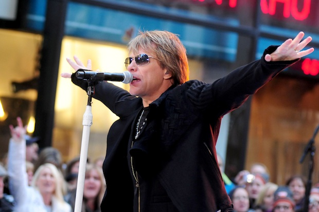 Bon Jovi appeared on the latest series of the X Factor to perform alongside the contestants their classic Livin On A Prayer.