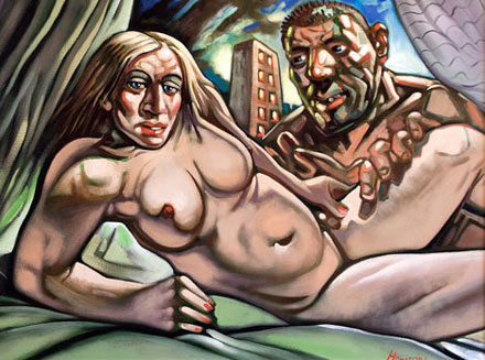 Hilarious, highly unflattering and hardly resembling Madonna and Guy Ritchie at all,the painting by Scottish artist Peter Howson failed to reach its asking price of £20,000 when it went under the hammer last month. We're not too surprised.