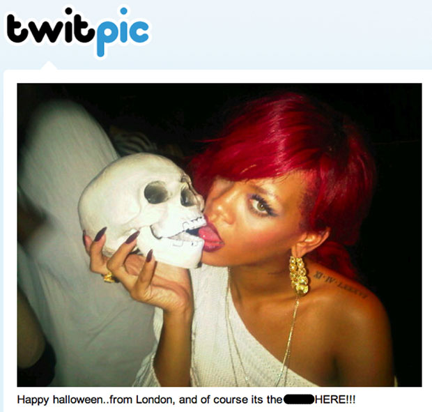 Rihanna gets all Hamlet with skull in London.