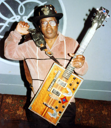 30. Bo Diddley's Rectangular Guitar – There are few more instantly recognisable guitars than Diddley's iconic rectangular design. Built by Gretsch, the late Diddley nicknamed it 'The Twang Machine' and loved the square design as it gave him more freedom to move around.