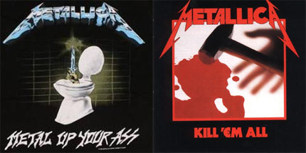 Metallica hit the studio in New York in 1983 to record their debut album which had the working title Metal Up Your Ass. The band's distributors didn't like the name, so they changed it to Kill 'Em All - a live 1982 demo bearing the Metal Up Your Ass title and artwork did see the light of day (above). Four tracks on Kill Em' All, including The Four Horsemen, featured writing contributions from Mustaine. The record has shifted in excess of 3million copies in America alone.