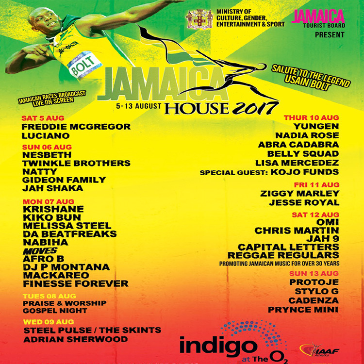 Ziggy Marley Freddie McGregor Usain Bolt Jamaica House IAAF game O2